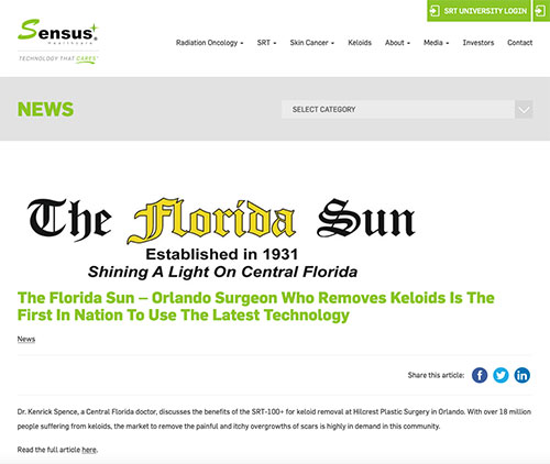 Screenshot of article: Orlando Surgeon Who Removes Keloids Is The First In Nation To Use The Latest Technology