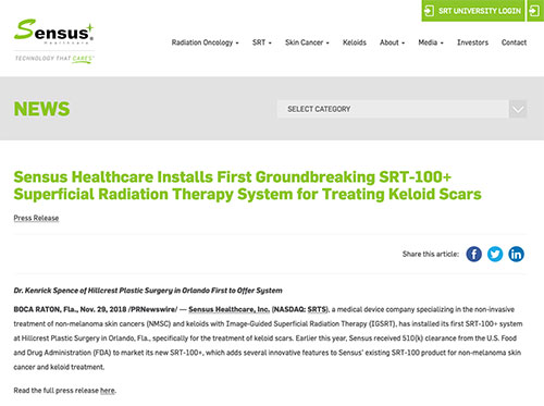 Screenshot of article: Dr. Kenrick Spence of International Keloid & Scar Treatment Center in Orlando First to Offer System