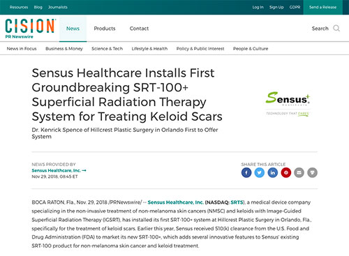 Screenshot of article: Sensus Healthcare Installs First Groundbreaking SRT-100+ Superficial Radiation Therapy System for Treating Keloid Scars in Orlando