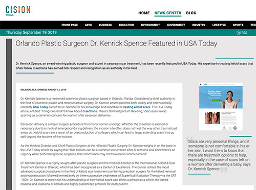 Screenshot of article: Keloid Removal Expert Dr. Kenrick Spence Featured in USA Today